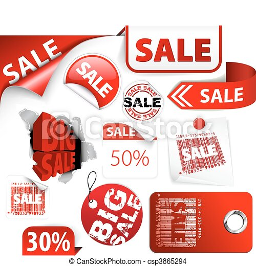 Set of red discount tickets, labels, stamps - csp3865294