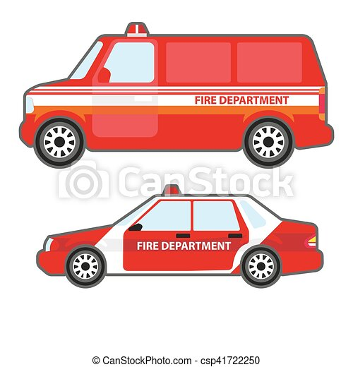 Set of red fire department car to help. - csp41722250