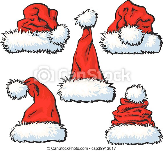 Set of red santa claus hat isolated on white background. Set of red ... 491e2ea5eb0b