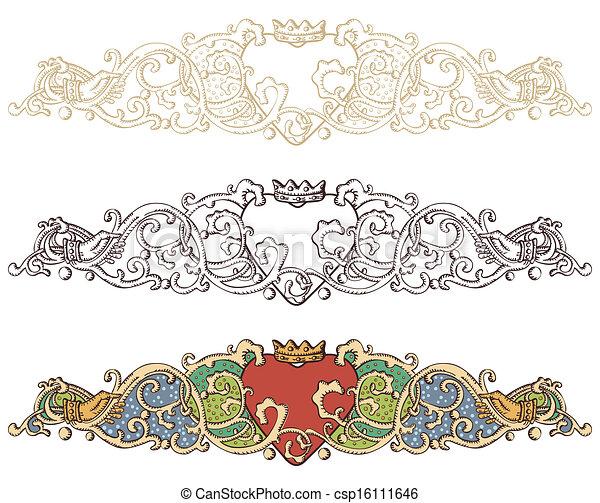 Set of renaissance crowned heart borders - csp16111646
