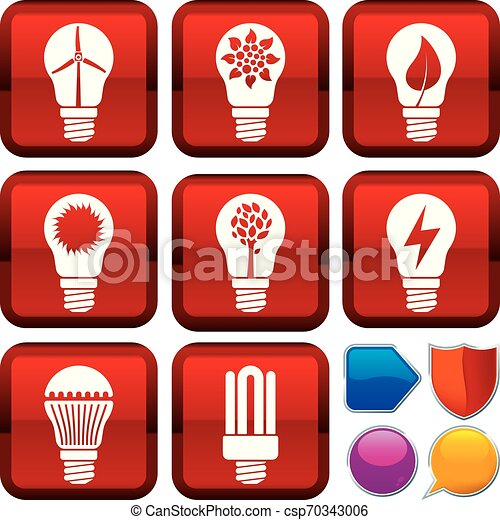 Set of renewable energy icons on square buttons. Geometric style. - csp70343006