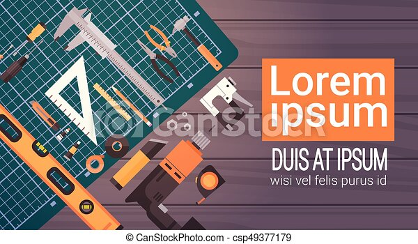 Set Of Repair And Construction Working Hand Tools, Equipment Collection Over Copy Space - csp49377179