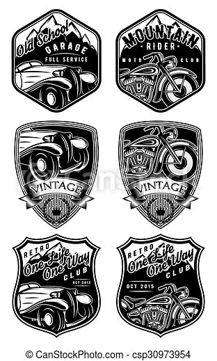 set of retro badges with car and motorcycle on background with mountains - csp30973954