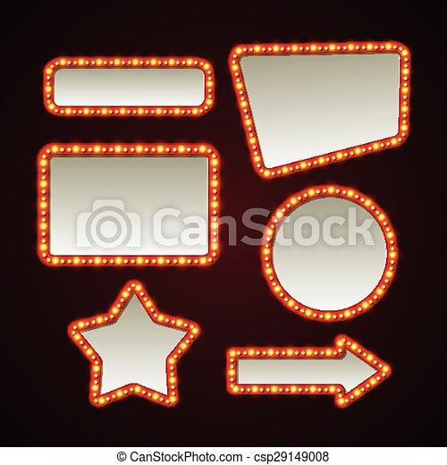 Set of retro light frames. Vector illustration - csp29149008