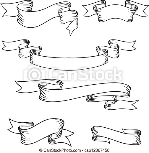 Set of retro ribbons and labels. Vector illustration. - csp12067458