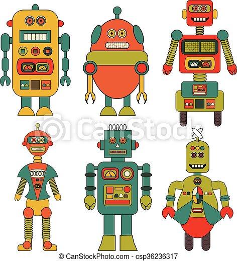 set of retro robots vectors cartoon a set of 6 retro
