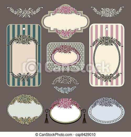 Set of retro roses vintage labels - csp9429010