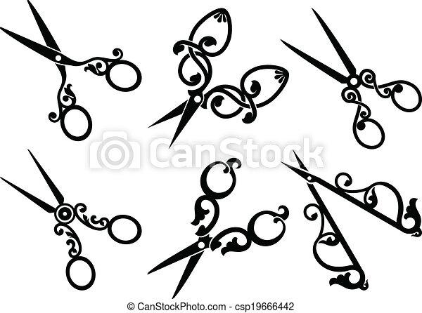 Set of retro scissors. - csp19666442