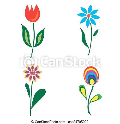 Set of retro spring colorful flower - csp34705920