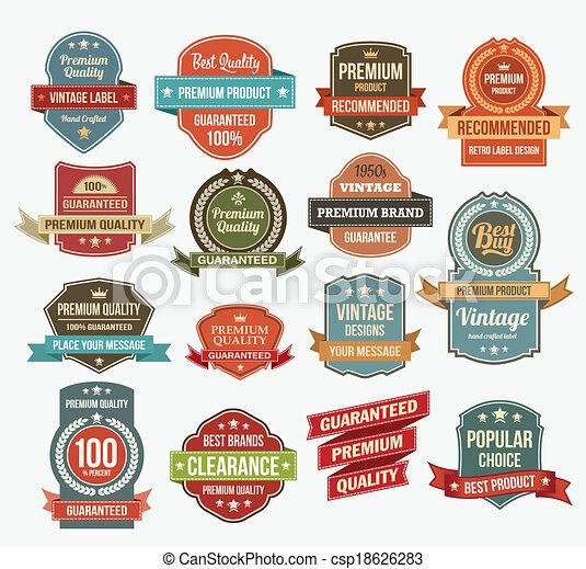 Set of retro vector label stickers - csp18626283