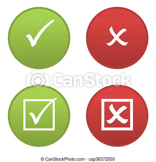 Set Of Right And Wrong Symbols Icons Isolated In White Stock