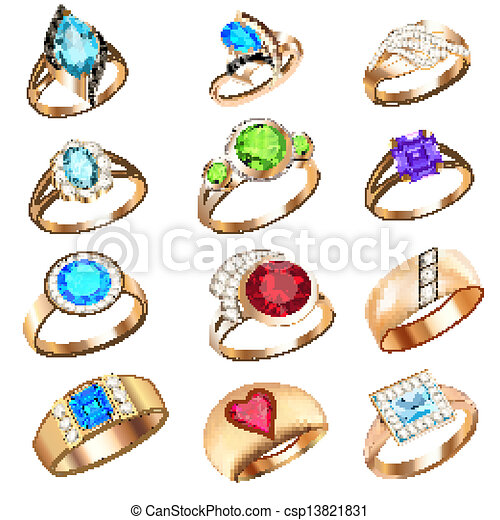set of rings with precious stones on a white background - csp13821831