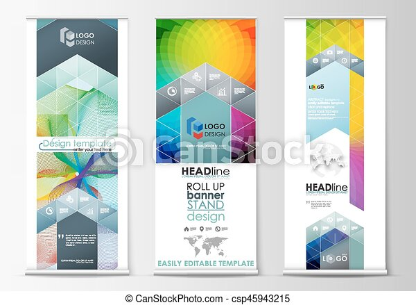 set of roll up banner stands geometric flat style templates