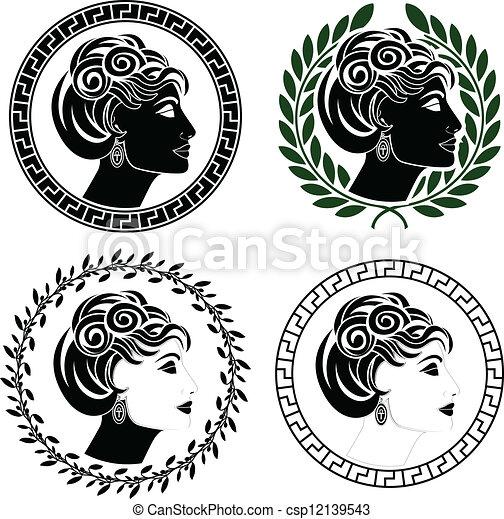 set of roman woman profiles - csp12139543