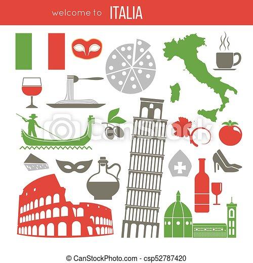 Set Of Rome Italy Symbols Italian Vector Illustrations Vector