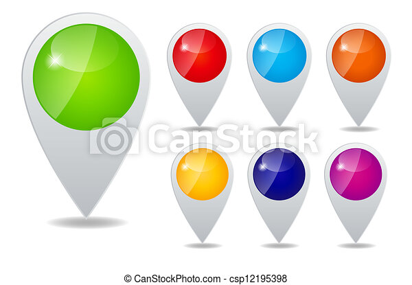 Set of round 3D map pointers vector illustration - csp12195398