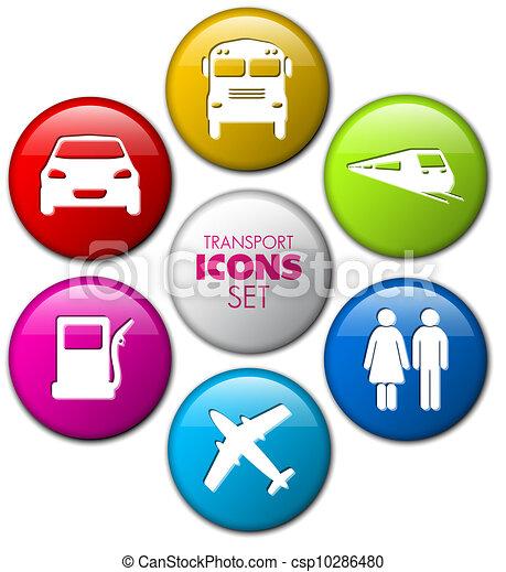 Set of round 3D transport buttons - csp10286480