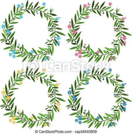 Set of round floral frames with spring flowers and leaves for design ...