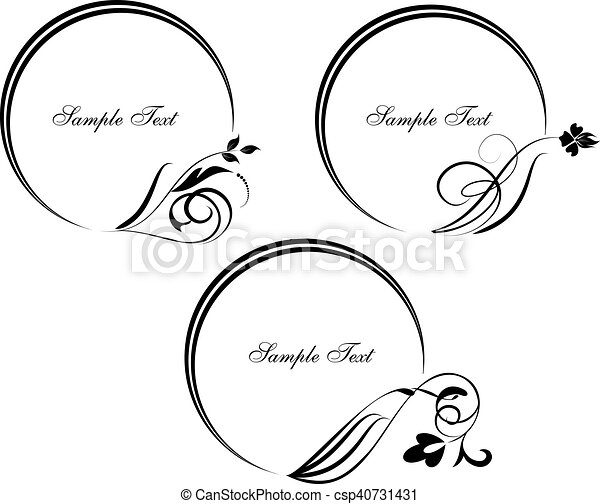 Set of round frame with decorative branch. Vector illustration. - csp40731431