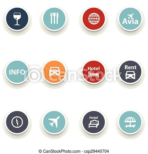 set of round icons. Travel - csp29440704