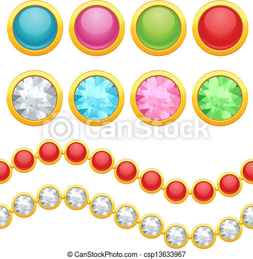 Set of round jewelery buttons and seamless chain. - csp13633967