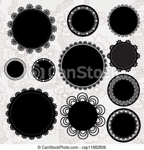 Set of round lacy doilies. - csp11682806
