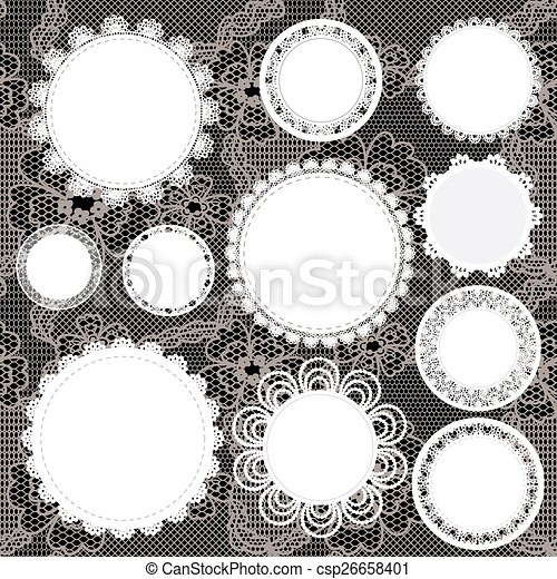 Set of round lacy doilies. - csp26658401