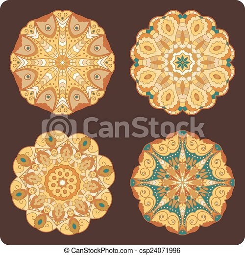 Set of round lacy ornaments - csp24071996