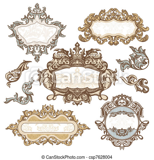 set of royal vintage frames vector illustration rh canstockphoto com Vector Clip Art for Vinyl Cutting Disney Vector Clip Art