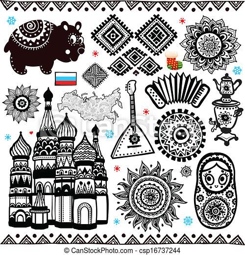 set of russian folcloric symbols csp16737244