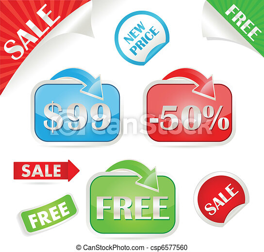 Set of sale and promo stickers csp6577560