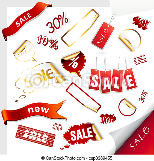 Set of sale icons, labels, stickers. - csp3389455