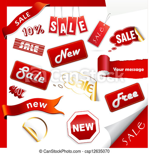 Set of sale icons, labels, stickers. - csp12635070