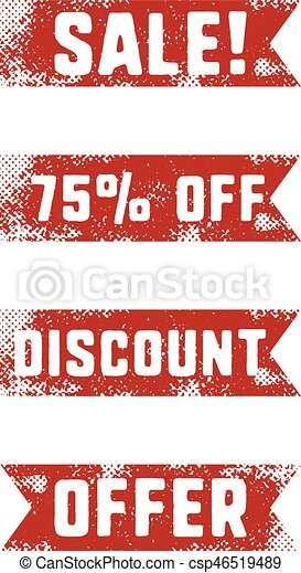 Set of sale red ribbons in retro letterpress style. Isolated on white background. Discount, special offer signs. Vector illustration - csp46519489
