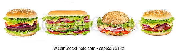 Set of sandwiches isolated on white - csp55375132