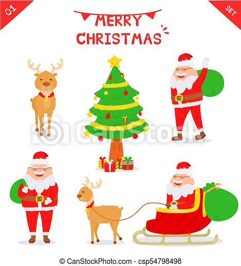 Set Of Santa Claus Character Isolated On White Background Cartoon Style Flat Vector Santa Claus On On Sleigh With Reindeer