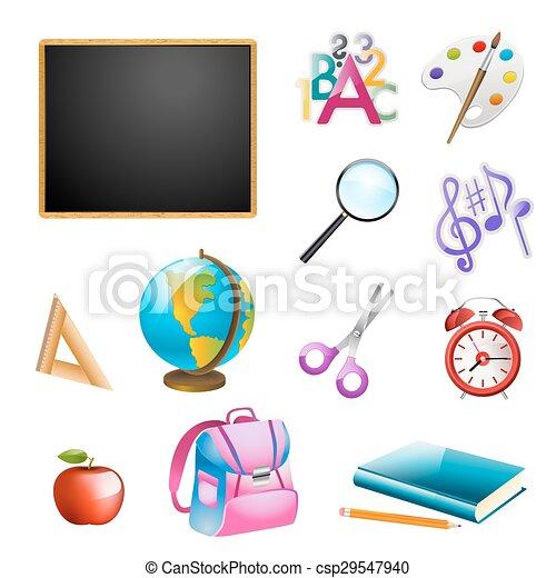 set of school items. vector illustration - csp29547940