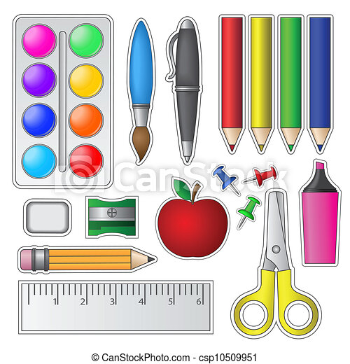 Set Of School Tools And Supplies Vector Illustration