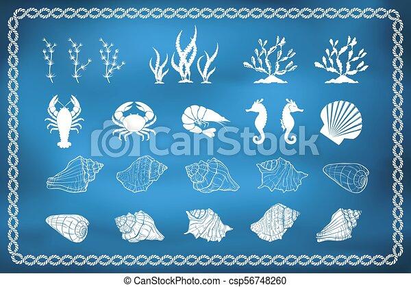 Set of sea life silhouettes - csp56748260