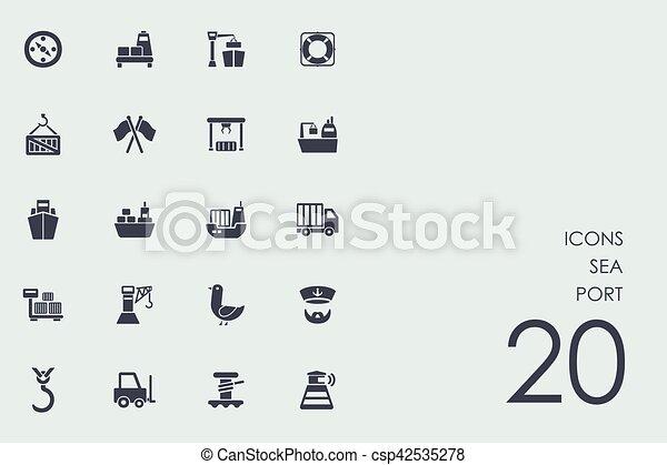 Set of sea port icons - csp42535278