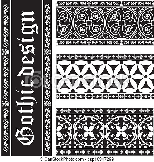 Set of seamless black-and-white gothic floral vector ornaments - csp10347299