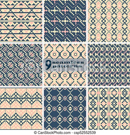 Set Of Seamless Geometric Patterns With Ethnic Motifs   Csp52552539