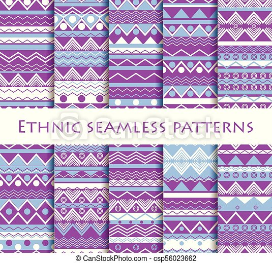 Set of seamless in ethnic style. Tribal textiles, hippie style. For wallpaper, bed linen, tiles, fabrics, backgrounds. Vector illustration. - csp56023662