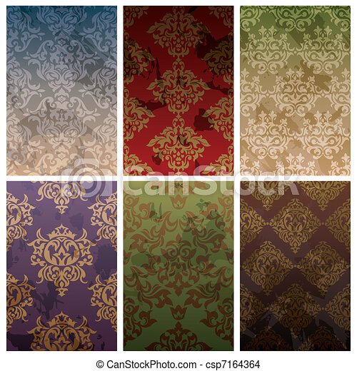 set of seamless vintage background - csp7164364