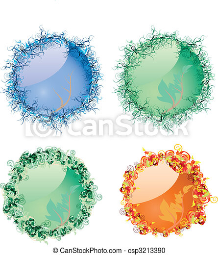 Set of season`s buttons for winter, spring, summer and autumn, vector illustration - csp3213390