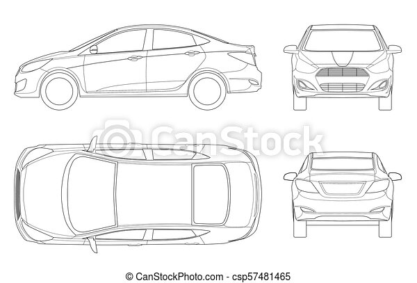 Set of Sedan Cars in outline. Compact Hybrid Vehicle. Eco-friendly hi-tech auto. Isolated car, template for branding and advertising. View front, rear, side, top. Vector illustration - csp57481465