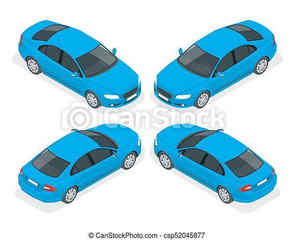 Set of Sedan Cars. Isolated car, template for branding and advertising. Isometric front and back - csp52045877