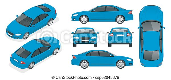 Set of Sedan Cars. Isolated car, template for branding and advertising. Front, rear , side, top and isometry front and back Change the color in one click - csp52045879