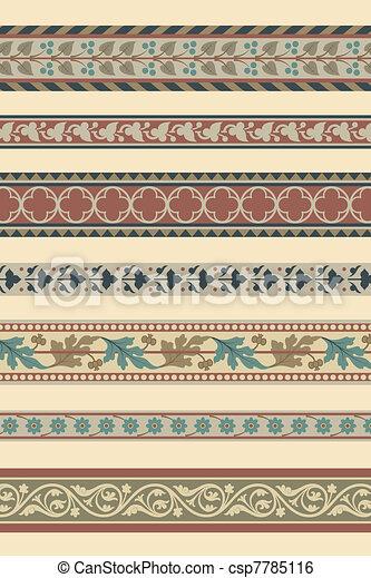 Set of seven decorative borders - csp7785116