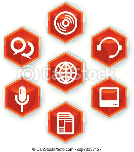 Set of seven media icons on hexagons. - csp70337127